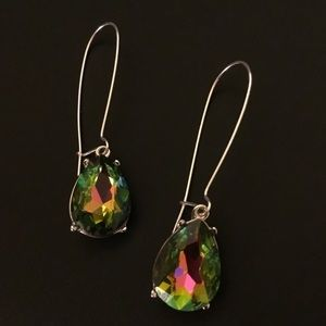 Rainbow Quartz Crystal Dangle Earrings